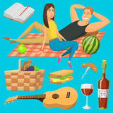 Adult couple on picnic plaid barbecue outdoor icons romantic summer picnic food vector illustration. Royalty Free Stock Image