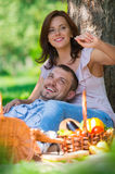Adult couple picnicking Royalty Free Stock Photo