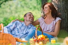 Adult couple picnicking Stock Photography