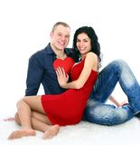 Adult couple with red heart Royalty Free Stock Photography