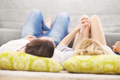 Adult couple relaxing at home Royalty Free Stock Photography