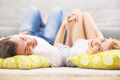 Adult couple relaxing at home Royalty Free Stock Photo