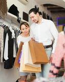 Adult couple with shopping bags Royalty Free Stock Photos