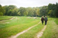 Adult couple walking Royalty Free Stock Image