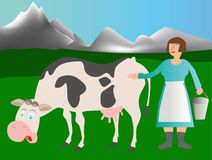 Adult cow and milkmaid Royalty Free Stock Images