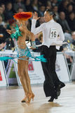 Adult Dance Couple Performs Youth Latin-American Program on the WDSF Baltic Grand Prix-2106 Championship Stock Photography