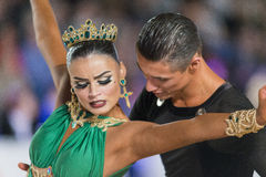 Adult Dance Couple Performs Youth Latin-American Program on the WDSF Baltic Grand Prix-2106 Championship Stock Photos