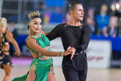 Adult Dance Couple Performs Youth Latin-American Program on the WDSF Baltic Grand Prix-2106 Championship Royalty Free Stock Photography