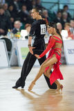 Adult Dance Couple Performs Youth Latin-American Program on the WDSF Baltic Grand Prix-2106 Championship Royalty Free Stock Images