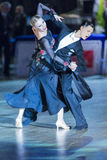Adult Dance Couple Performs Youth Standard European Program on the WDSF Baltic Grand Prix-2106 Championship Stock Image