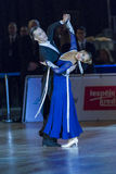 Adult Dance Couple Performs Youth Standard European Program on the WDSF Baltic Grand Prix-2106 Championship Stock Images
