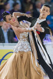 Adult Dance Couple Performs Youth Standard European Program on the WDSF Baltic Grand Prix-2106 Championship Stock Photography