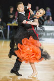 Adult Dance Couple Performs Youth Standard European Program on the WDSF Baltic Grand Prix-2106 Championship Royalty Free Stock Photo