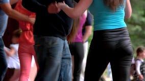 Adult dancing people outdoor. stock video
