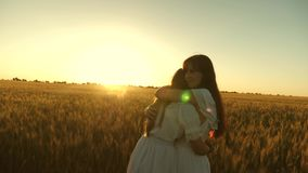 Adult daughter in arms of her mother in a field in the rays of the sun. mom strokes her daughter`s hair. Mom gently hugs stock video