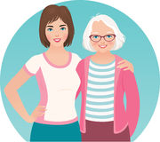 Adult daughter and elderly mother Stock Photos
