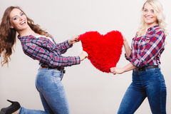 Adult daughter and mother with heart love sign Royalty Free Stock Image
