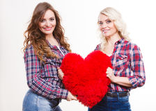 Adult daughter and mother with heart love sign Stock Photo