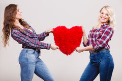 Adult daughter and mother with heart love sign Stock Photos