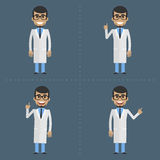 Adult doctor indicates in various poses Stock Photo