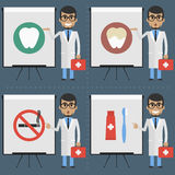 Adult doctor stomatologist indicates on flipchart infographics Stock Photography
