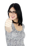 Isolated Thumbs-up Winking 30's Woman Royalty Free Stock Image
