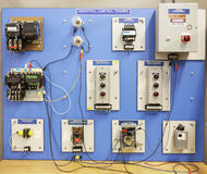 Adult Ed - Industrial Control Trainer. An industrial motor control training panel.  Used in adult and vocational education Royalty Free Stock Photography