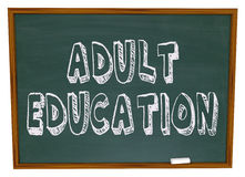 Adult Education - Chalkboard Royalty Free Stock Image