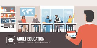 Adult education and lifelong learning stock illustration