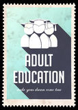 Adult Education on Light Blue in Flat Design. Stock Photography