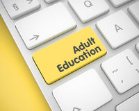 Adult Education - Message on Yellow Keyboard Button. 3D. Stock Photos