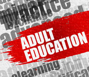 Adult Education on the White Wall. Stock Photo