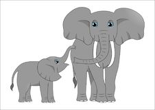 Adult elephant and baby elephant stock images