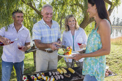 Adult Family Group Cooking Barbeque In Countryside Royalty Free Stock Photos