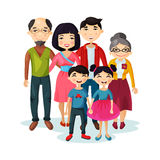 Adult family with happy kids or children. Cartoon picture of family with children or kids. Father and mother, grandmother and grandfather, sister and brother Stock Image