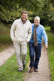 Adult father and son walking along path Royalty Free Stock Image