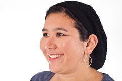 Adult Female of Asian Ethnicity. A head and shoulders shot of an Adult Female of Asian Ethnicity wearing a black knit hat, facing camera left and smiling Royalty Free Stock Photography