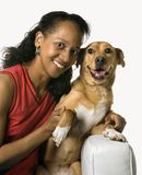 Adult female with dog. Royalty Free Stock Images
