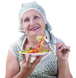 Adult female and fresh vegetable salad Stock Photography