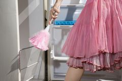 Adult female feather dusting empty refrigerator. Stock Images