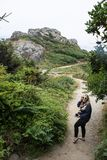 An adult female hiker stands in lush vegetation of Patricks Point State Park in Northern California on a dirt hiking trail. During summer royalty free stock images