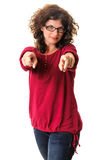 Adult female pointing with both hands toward Royalty Free Stock Image