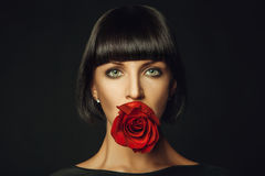 Adult female with red rose Stock Photos