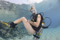 Adult Female scuba diver in bikini royalty free stock images
