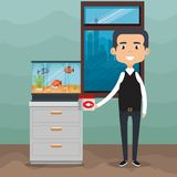 Adult with fish in aquarium. Vector illustration design Stock Photos