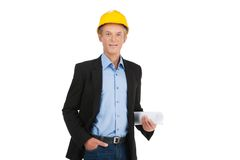 Adult foreman wearing yellow hat. Royalty Free Stock Photos
