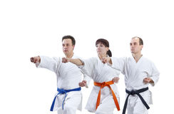 Adult friends athletes are training punch arm Stock Image