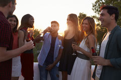 Adult friends socialising at a party on a rooftop at sunset Royalty Free Stock Image