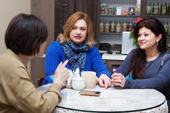 Adult friends talking in a cafe Royalty Free Stock Photography