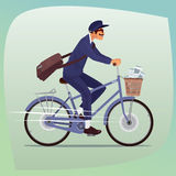 Adult funny postman rides on bicycle royalty free illustration